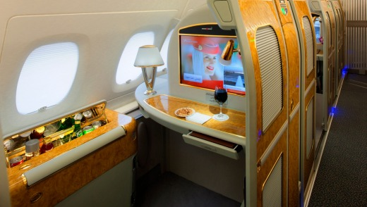 The Emirates A380-800 first class private suite.