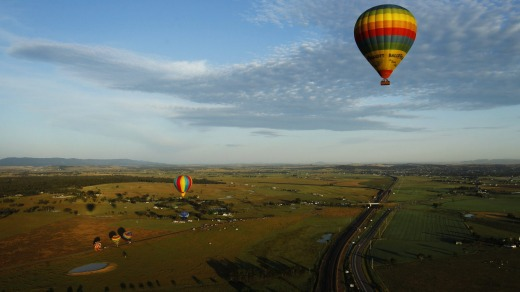 The annual balloon fiesta over the Hunter Valley.