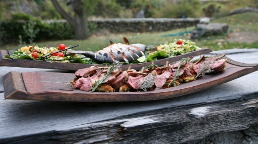 Wild Earth, Central Otago Region, New Zealand: Lamb Racks and Salmon.