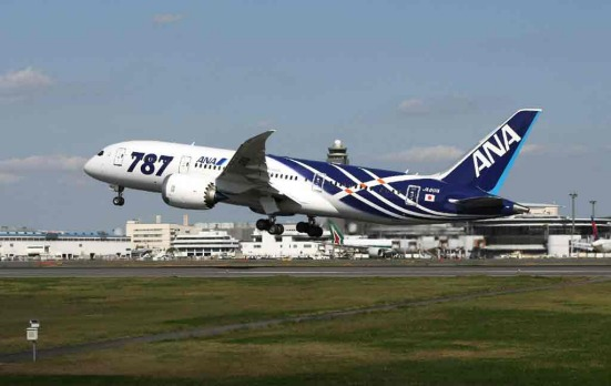 All Nippon Airways' Boeing 787 Dreamliner jet leaves the Narita international airport.