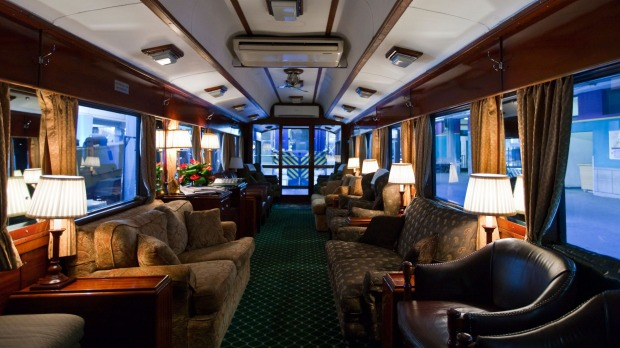 The coffee bar of the Rovos Rail luxury train travelling between Cape Town and Pretoria in South Africa.