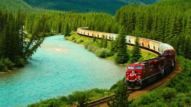 You don't get views like this from plane windows: The Canadian-Pacific Railway stretches from Vancouver, British ...