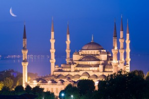 A crescent moon over the Blue Mosque in Istanbul.
