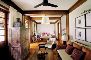 The Tamarind Suite, in the Tamarind Village, is decorated with antique furnishings embellished with luscious, locally sourced textiles.
