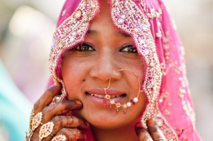An elegantly decorated and dressed Indian bride.