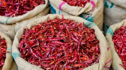Red chillies on sale at Khari Baoli spice and dried foods market.