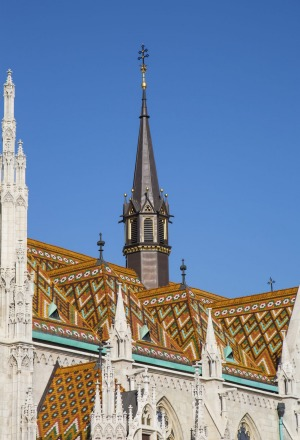 Part of the Matthias Church in Budapest, Hungary.