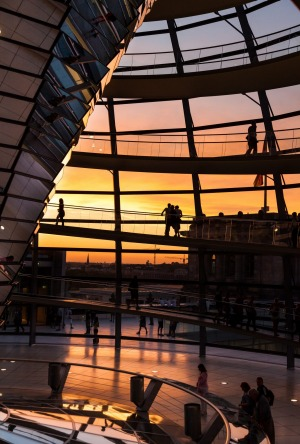 Reichstag Dome Berlin at sunset.
