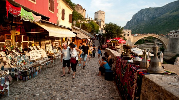 A cobbled street near the old bridge in Mostar, Bosnia and Herzegovina.