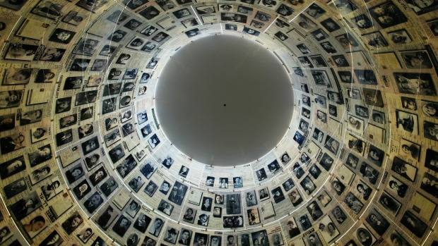 Photographs of murdered Jews within the Hall of Names at Yad Vashem Holocaust Memorial in Jerusalem.
