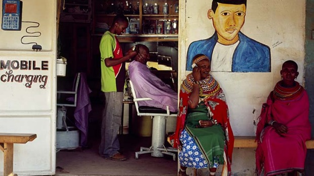 Cross country ... a roadside barber shop in Kenya.