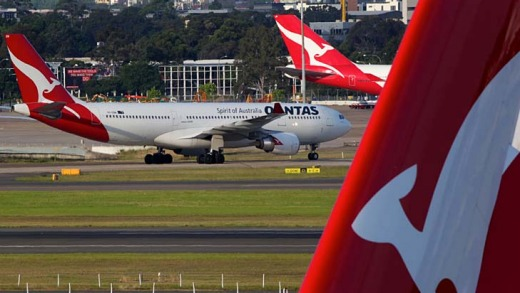 Full stop … a grounded aircraft at Sydney Airport.
