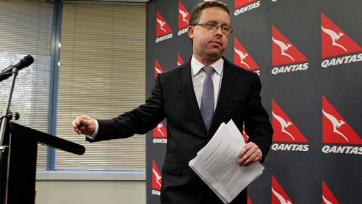 Shutdown ... Qantas CEO Alan Joyce after the announcement.