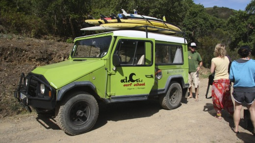 Odeceixe Surf School's ex-Army Jeep.