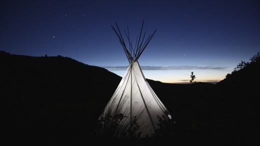 The big tipi after dark.