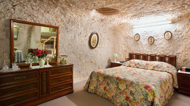 A bedroom in an  underground home in Coober Pedy, South Australia.