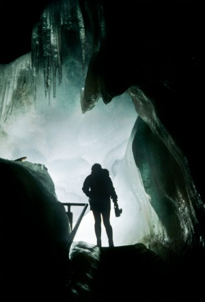 A woman holds a carbide lamp in the Eisriesenwelt ice cave in Austria.