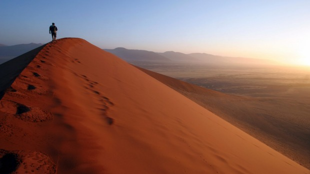Sunrise in the Namib Desert.