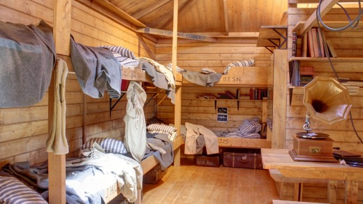 The bunk room is a faithful replica of  Mawson's hut in Antarctica.