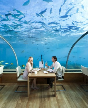 Ithaa, the world's first underwater restaurant at the Conrad Maldives Rangali Island resort.