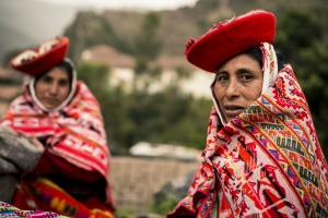 Women wear  traditional dress in Ollantaytambo, Sacred Valley, Peru.