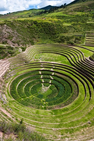 An archeological site once served as the Inca's  agricultural research centre, near Moray.