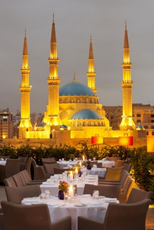 A restaurant terrace  overlooking Mohammad Al-Amin Mosque at Martyrs Square in Beirut, Lebanon.