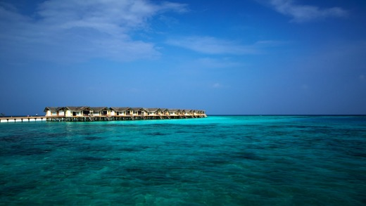 Overwater bungalows at Loama.