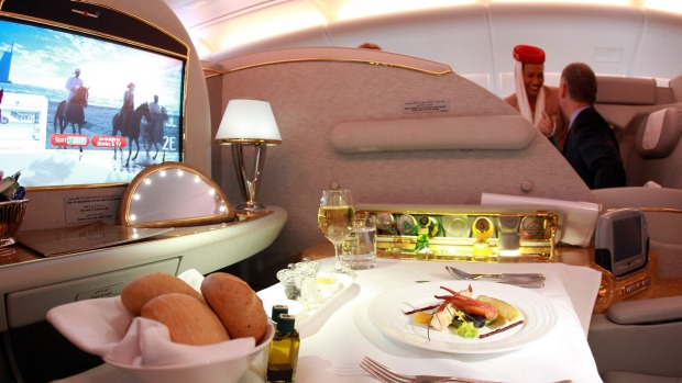 Dinner is served in first class.