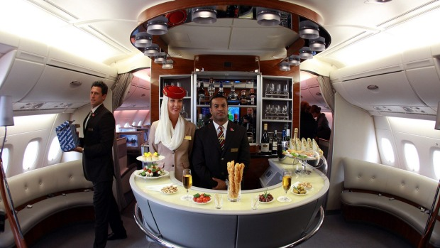 Onboard the lounge of Emirates Airbus A380.
