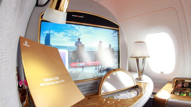 A first class seat lined with gold.