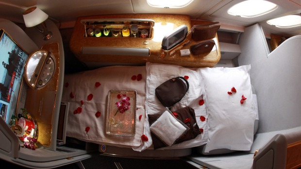 The bed on an Emirates first class seat.