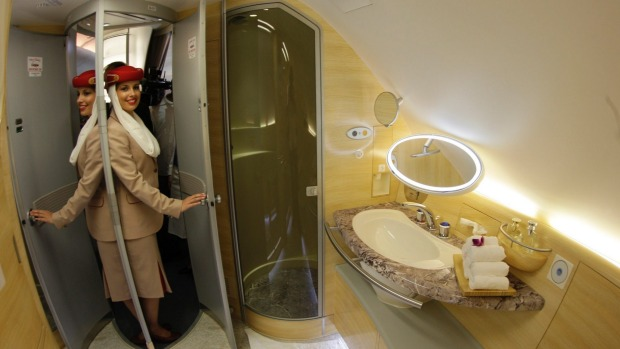 There are two shower spas at the front of the Emirates A380 for first class passengers only.