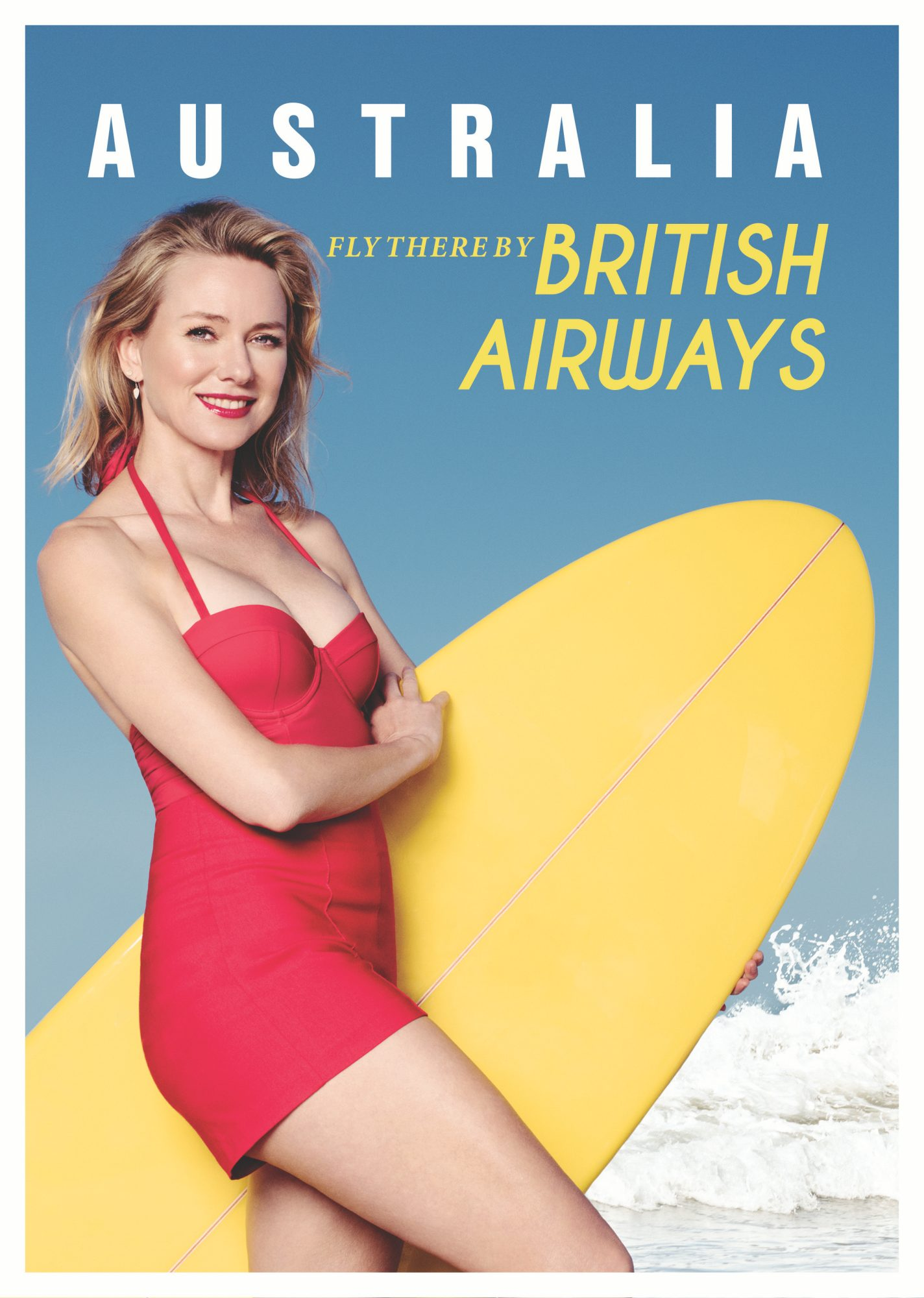 Naomi Watts in a modern take of the iconic 1956 British Airways poster.