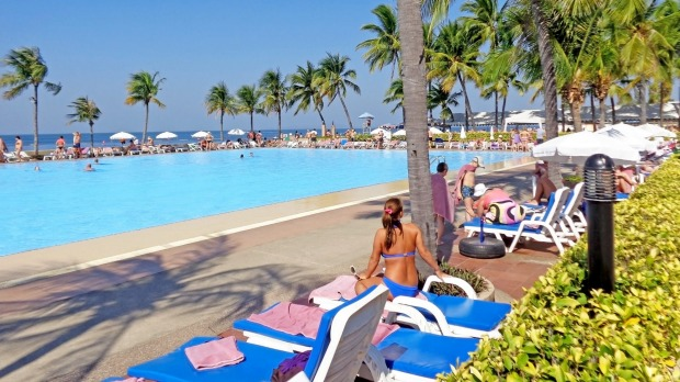 Pool on the beach at Ambassador City Jomtien in Pattaya, Thailand. The large pool needs to cater for the guests ...