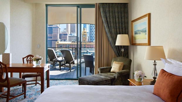 A balcony room at The Langham, Melbourne.
