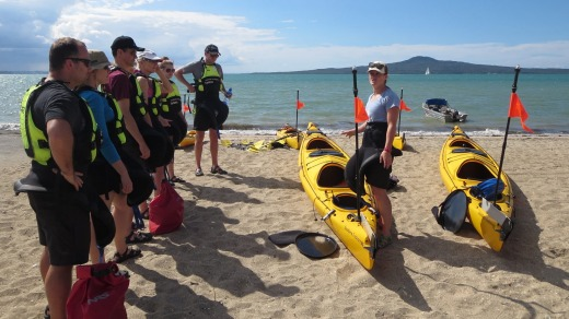 Briefing on beach on St Heliers beach.