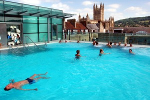 The rooftop pool at the Thermae Bath Spa.