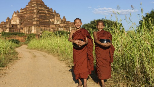 Two young Buddhist monks in  Bagan.