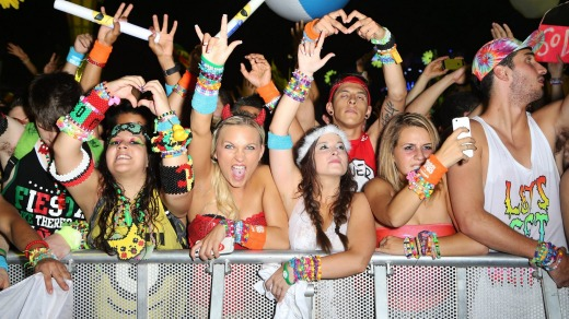 Fans at the Electric Daisy Carnival at Las Vegas Motor Speedway .