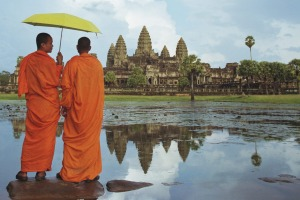 Monks admire Cambodia's famed  Angkor Wat.