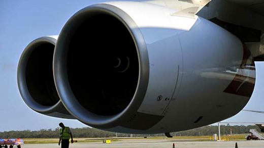 The engines of a Qantas A380.