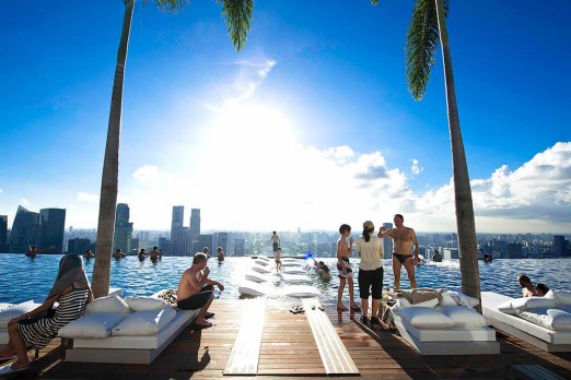 By day, the SkyDeck pool makes for some amazing views of Singapore.