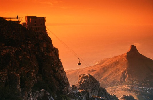 Cable Car at Sunset, Table Mountain. South Africa.