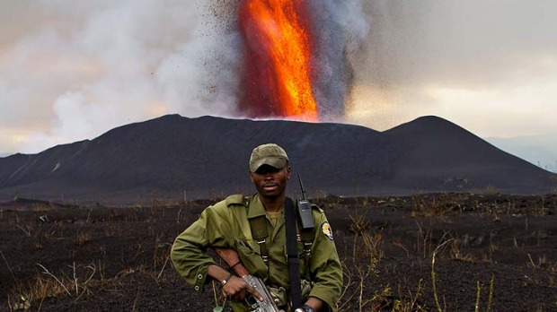 Fire power ... Virunga National Park is inviting tourists on an overnight trek to view a spectacular eruption of Mount ...