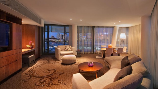 Luxury ... the lounge room of the Adored suite.