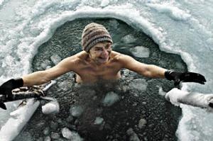 Cold comfort ... ice-hole swimming is a popular national pastime in Finland in winter.