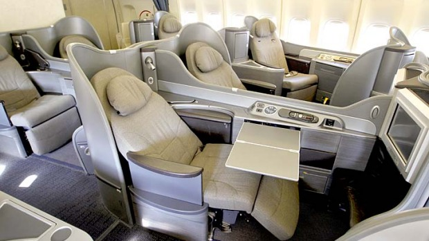 The new first class cabin on a United Airlines 747 plane. US airlines are spending nearly $US2 billion to upgrade ...