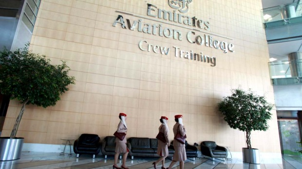 The atrium of the Emirates Aviation College in Dubai.