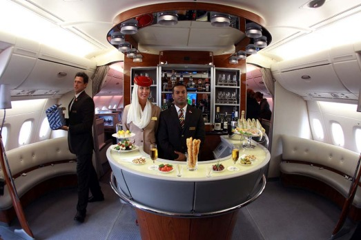 The on board horseshoe bar on an Emirates A380 superjumbo.